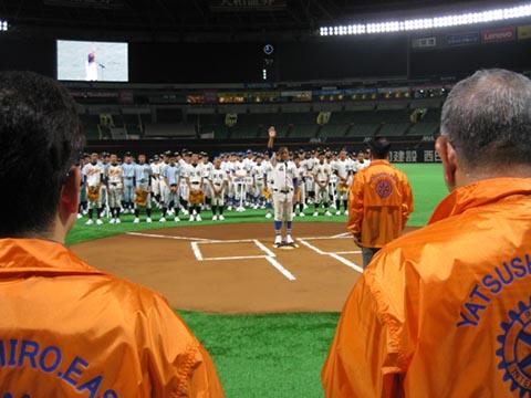 熊本・大分地震復興支援で中学校親善野球大会開催<br>熊本県・八代東RC